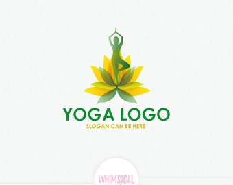 Tree Pose in Lotus Flower Logo - strong colors Logo - peacful logo -  Yoga  Logo Design