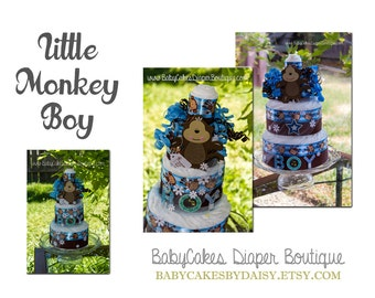 Monkey Baby Shower Diaper Cake, Monkey Boy Diaper Cake Gift, Blue and Brown Monkey Diaper Cake