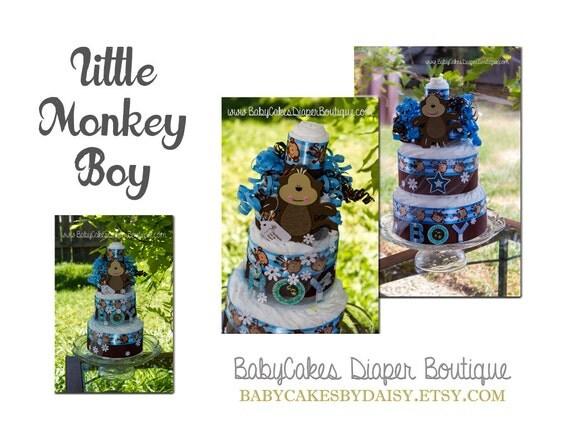 Monkey Baby Shower Diaper Cake, Monkey Boy Diaper Cake Gift, Blue and Brown Monkey Diaper Cake
