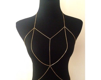 New Double Layered Bralette Body Chain in gold or Silver