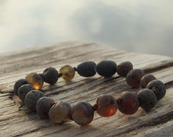 Genuine Baltic AMBER Baby Teething BRACELET/ ANKLET. 100% natural Therapeutic large beads.