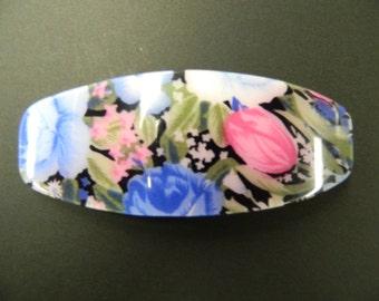 Vintage blue floral hair barrette clip