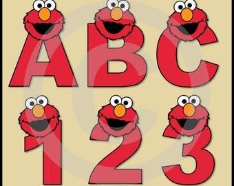 Elmo (Sesame Street) Alphabet Letters & Numbers Clip Art Graphics