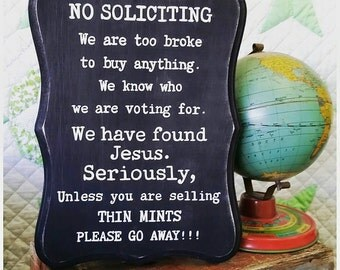 No Soliciting Sign. Custom Front Door Sign. Don't Ring the Doorbell. No Solicitation. Thin Mint Sign. Please Go Away Sign. New Baby Gift.