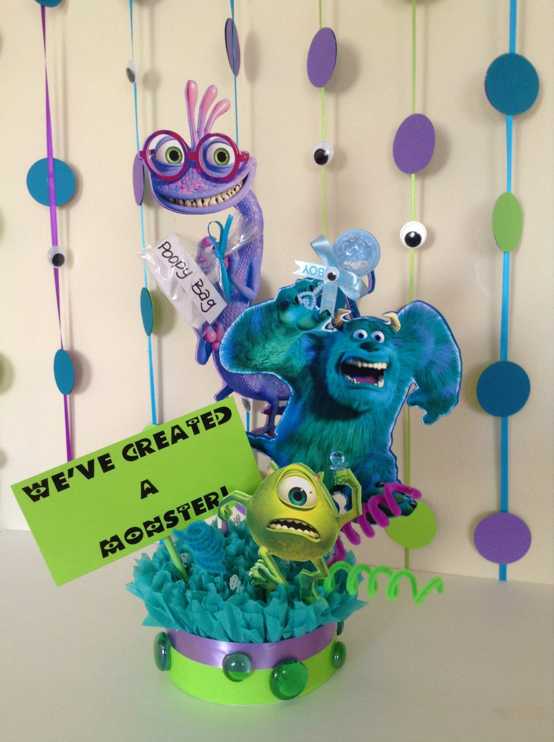 Monster Inc Baby Shower Decorations Monsters Inc Baby Shower Centerpiece Baby Shower Centerpiece
