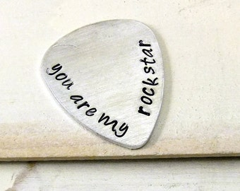 You Are My Rockstar, Hand Stamped Guitar pick, Personalized Guitar Pick, Boyfriend Gift,