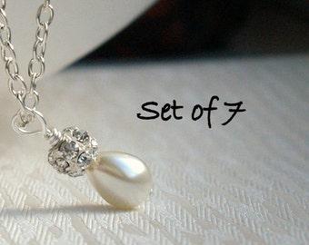 Set Of 7 Tiny Ivory Bridesmaid Necklaces Drop Pearl Jewelry Ivory Rhinestone 7 Necklaces Bridesmaid Jewelry Ivory Drop Pearl Bridesmaid Gift