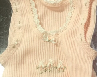 Baby embroidered singlet apricot