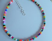 Rainbow Glass Seed Bead Mix Ankle Chain