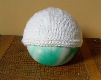 White Baby Knit Hat, 6 month Old Baby Hat