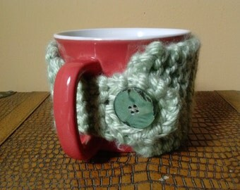 Light Green Coffee Mug Cozy- Coffee Cup Cozy- Knitted Coffee Cup Cozy