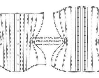 Sin & Satin Super Curvy Underbust 20 Panel Corset Pattern PDF Download