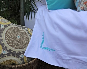 Twin Queen King Monogram Duvet Cover/ Embroidered Personalized Bedding/ Aqua Linen Duvet Cover