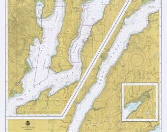 Puget Sound Hood Canal to Dabob Bay 1984 Nautical Map, Washington, Reprint PC Harbors Puget 18476