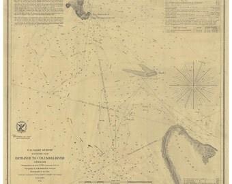 Entrance to the Columbia River 1854  Nautical Map, Oregon PC Harbors Reprint 639