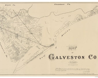Galveston County, Texas - 1879  - Old Wall Map Reprint With Land Owners names  - General Land Office