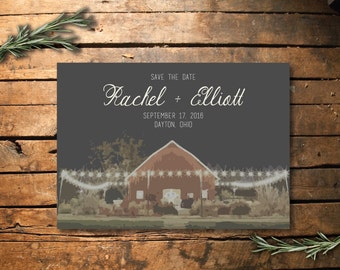 Barn illustration save the date printable
