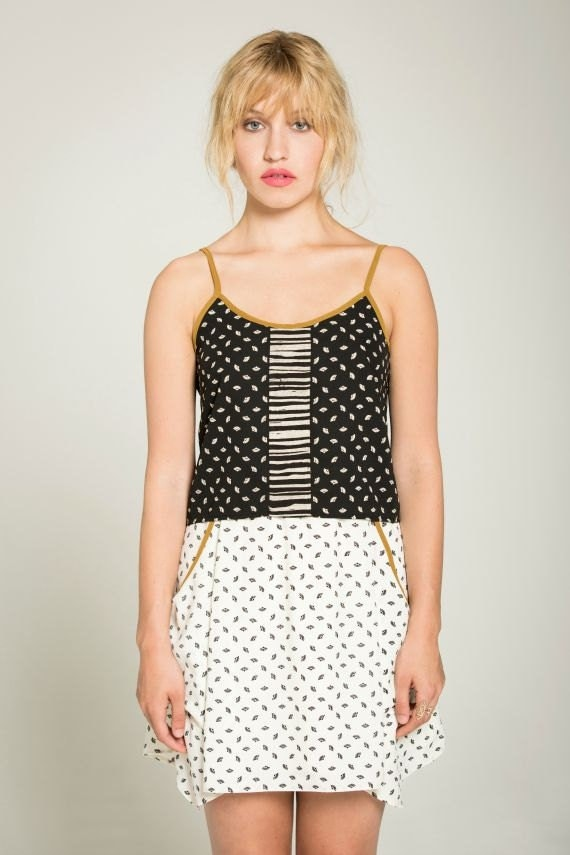 THE LOOK - thin strap crop top, cami for women - black with paper fans prints