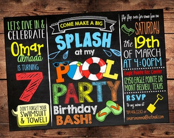 Pool Party Birthday Bash Invitation - Splish Splash Birthday Bash - Digital File