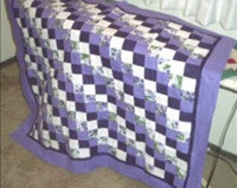 Lap quilt, pansies quilt, lap quilt purple, throw lap quilt, baby quilt, purple and white quilt