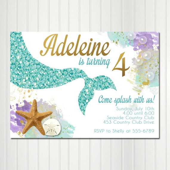 Mermaid Invitation Mermaid Birthday Party Under the Sea
