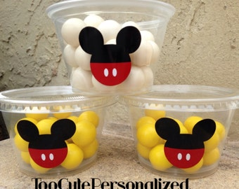 25 Plastic Mickey Snack Cups-4 oz.