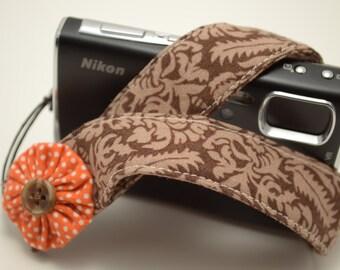 Brown Damask with Orange Flower - Padded Camera Wrist Strap