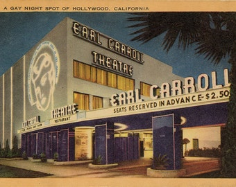 Vintage California Postcard - Earl Carroll Theatre Gay Night Spot of Hollywood 1940s (unused)