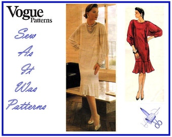 1980s Chemise Dress Asymmetrical Front Tab Buttons Hem Flounce Vintage Sewing Pattern Vogue Designer Original 1436 Jean Muir Size 12 Bust 34