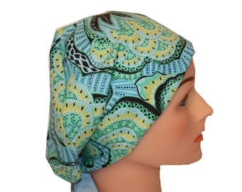 Scrub Hat Surgical Scrub Cap Chemo Chef Vet Nurse Dr Hat European Style Pixie Blue Teal Yellow Green  2nd Item Ships FREE