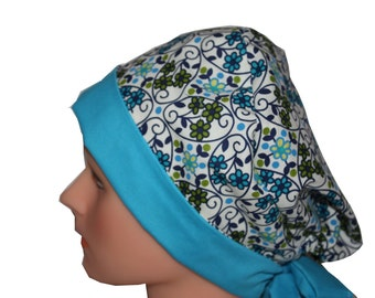 Scrub Hat Surgical Scrub Cap Chemo Hat Tie Back Front Fold Pixie Vintage Look Floral Blue Green White Lace Flowers - 2nd Item Ships FREE