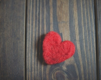 Wool Needle Felted Red Heart
