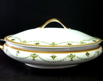 Antique Large W.H. Grindley Covered Tureen Rare The Santangel Pattern Made in England 1914-1925