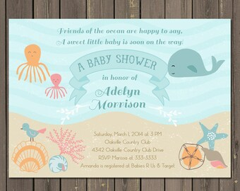 Ocean Baby Shower Invitation, Under the Sea Baby Shower Invite, Sea Baby Shower, Whale, Octopus, Shells, Beach, Gender Neutral