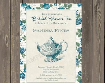Bridal Shower Tea Invitation, Bridal Tea Party Invite, Blue and Green Floral Bridal Shower Brunch Invitation, Printable or Printed