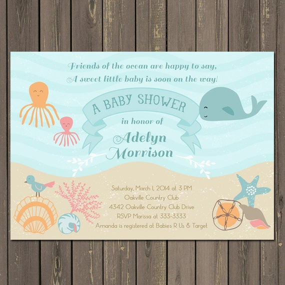 baby shower invitation under the sea baby shower invite sea baby