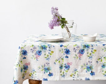 White Summer Flowers Linen Tablecloth