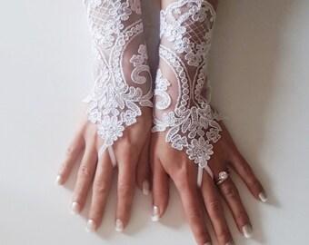 White bridal gloves  wedding accessories bridal gift  wedding prom party show bellydance