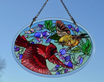 Birds In Flight Hand Painted Sun Catcher