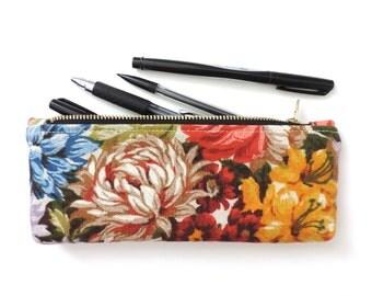 Floral Pencil Case Zipper Pencil Pouch Linen Flowers