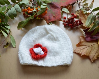 Hand Knitted White  Hat for New-Born Baby