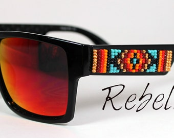 Hand Beaded Sunglasses Red Square Teals