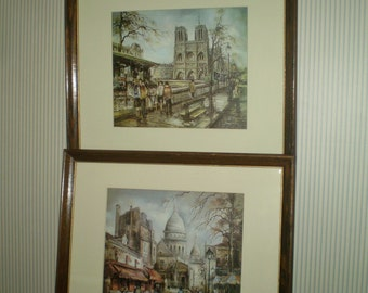 Pair of framed Paris Lithos- vintage lithograph of Le Sacre Coeur and Notre Dame in Paris, France- Left bank book sellers and Paris cafe