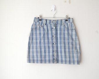high waist checked plaid button down mini skirt 90s // M-L