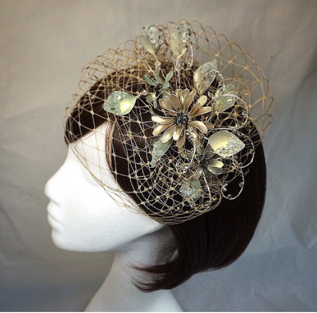 Gold fascinator mother of the bride Summer by ...