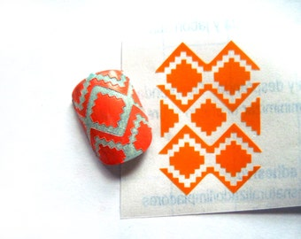 Aztec diamond nail stencils