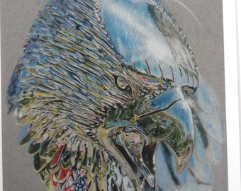 Signed Limited edition mounted giclee art print of a pencil crayon drawing of a steel Eagle sculpture