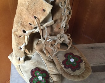 Antique Plains Indian Elk Hide Beaded Moccasins, mukluks