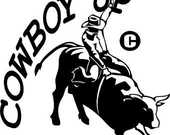 cowboy up bull rider rodeo vinyl decal sticker