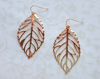 SALE Rose Gold Lace Leaf Earrings, Lightweight Open Leaf Filigree Earrings, Woodland Wedding, Rustic, Boho, Bridesmaid Gift,Copper